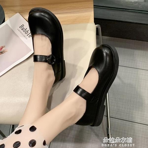 娃娃鞋 學院風小皮鞋女復古配裙子英倫風圓頭韓版百搭日系jk黑色軟底舒適 朵拉朵YC