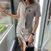 2020春夏季可愛披肩洋裝小個子氣質女神范兩件套連帽T恤包臀米奇裙 一米陽光