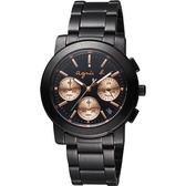 agnes b. 自由國度三眼計時腕錶-鍍黑/38mm VD53-KP30K(BT3031X1)