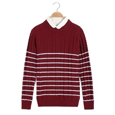 針織毛衣 長袖-秋冬保暖時尚條紋男針織衫2色73ik79【時尚巴黎】