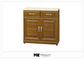 【MK億騰傢俱】BS316-01樟木色實木2.7尺碗盤餐櫃(含石面)