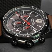 星晴錶業-FERRARI法拉利男錶,編號FE00014,46mm黑錶殼,咖啡色錶帶款