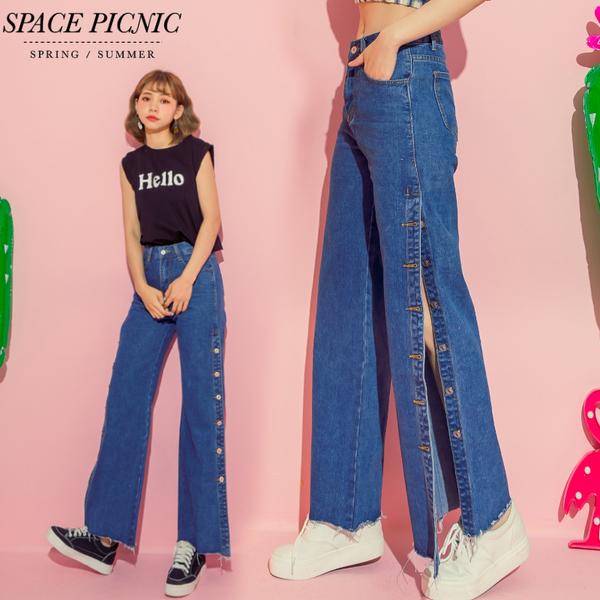 單寧 長褲 Space Picnic|側排釦單寧牛仔雙口袋寬褲(現+預)【C18063071】