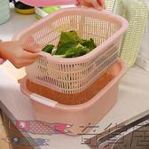 廚房用品洗水果果盤洗菜盆洗菜籃瀝水籃雙層家用歐式大號塑料籃子【奇貨居】