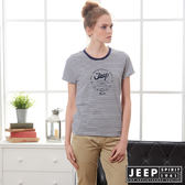 【JEEP】女裝 經典條紋短袖TEE-藍