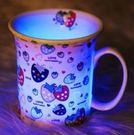 預購-一杯子浪漫迷醉七彩發光骨瓷杯-草莓