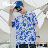 『潮段班』【GN0ZR016】春夏新款渲染水彩潑墨造型字母短袖圓領T恤上衣