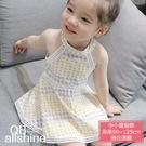 女童洋裝 甜美削肩幾何圖緹花無袖連身裙 QB allshine