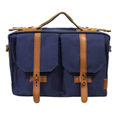 24期零利率 吉尼佛 JENOVA 68002 風華年代 懷舊系列 專業攝影復古型背包(中) 寶藍色