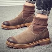 襪靴 秋冬季男鞋馬丁靴高筒棉鞋網紅襪套男靴子英倫風軍靴雪地短靴 果寶時尚