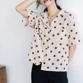 學院風復古波點翻領短袖襯衫 口袋設計感西裝領襯衣6017#FNA019-D紅粉佳人