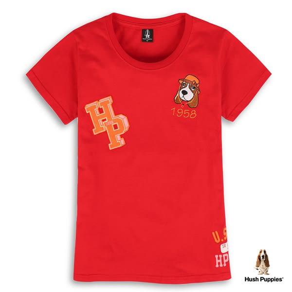 Hush Puppies T恤 女裝刺繡帽子狗棉質短袖T恤
