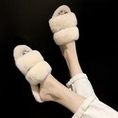 特賣秋季拖鞋毛毛拖鞋女網紅韓版新款外穿秋冬潮鞋子時尚秋季孕婦兔毛涼拖