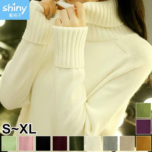【V2260】shiny藍格子-多色搭配.純色保暖高領針織毛衣上衣
