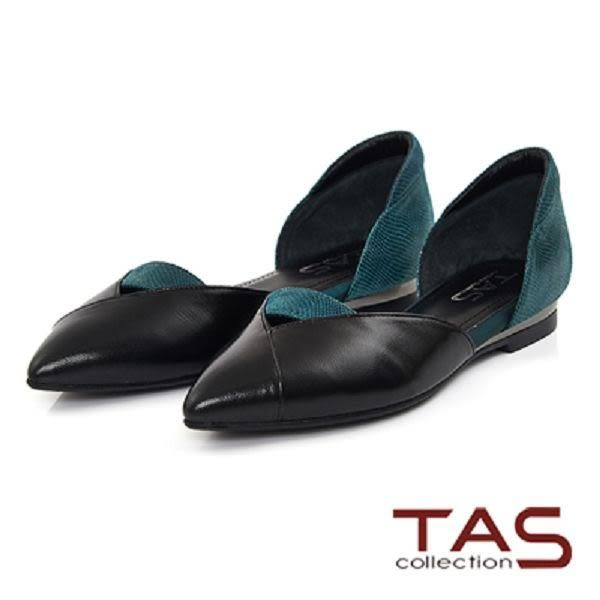 TAS  撞色拼接一字鏤空尖頭鞋-質感綠