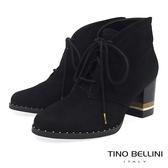 Tino Bellini 巴西進口斜口金屬綁帶高跟短靴 _ 黑 A79014A 歐洲進口款