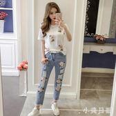 中大尺碼 韓版新刺繡印花短袖T恤 牛仔褲時尚兩件套氣質套裝女潮流  GB6223『小美日記』