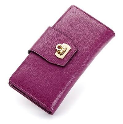 皮夾(長夾)-純色時尚經典鎖扣兩折女零錢包5色73eb78【時尚巴黎】