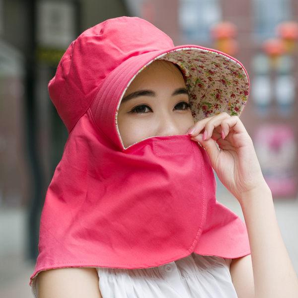 夏天女遮陽帽防紫外線太陽帽騎車帽大檐防曬遮臉帽子布帽 采茶帽【時尚家居館】