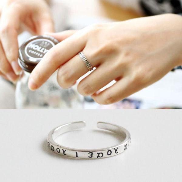 韓國泰銀復古希臘古典字母文字戒指指環開口925純銀戒指AR737-1【狐狸跑跑】
