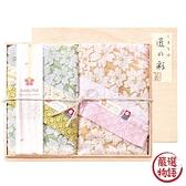 【日本製】【SHIMANAMI匠之彩】日本製 今治毛巾禮物木盒組 白櫻花圖案 擦面巾兩件組 SD-4054 -