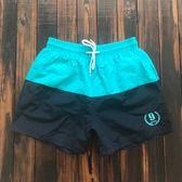 沙灘褲男速干 海邊度假溫泉游泳褲 拼色四分短褲家居褲帶內襯 新知優品