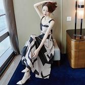 禮服 中長款吊帶洋裝夏2021新款修身氣質顯瘦長裙收腰仙女背帶裙子女
