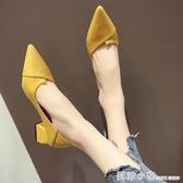 女鞋夏季軟皮單鞋女年新款百搭粗跟尖頭中跟仙氣豆豆高跟瓢鞋 中秋節全館免運
