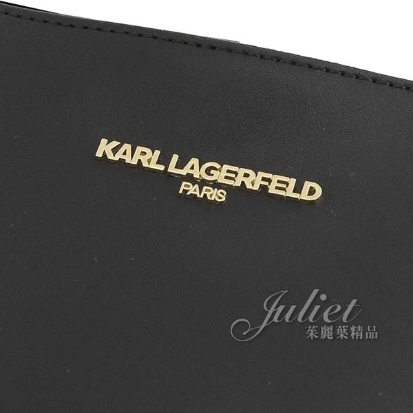 茱麗葉精品【全新現貨】KARL LAGERFELD 卡爾 V字手勢吊飾肩背托特購物包.黑