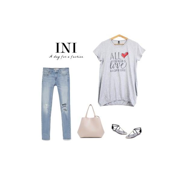 【INI】休閒好搭、好感印花顯瘦長版棉T.灰色
