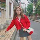 春裝新款韓版學生百搭紅色BF長袖短款牛仔外套女夾克寬鬆上衣【七七特惠全館七八折】