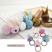 QQ長耳立體兔兔髮圈(1入)【小三美日】髮飾/顏色隨機出貨