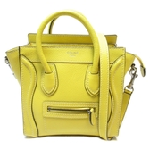 CELINE 賽琳 黃色牛皮手提斜背兩用包 Nano Luggage Bag【二手名牌BRAND OFF】