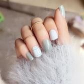 指甲片 - 短款假指甲美甲甲片簡約綠色虛線假指甲美甲貼片成品【韓衣舍】