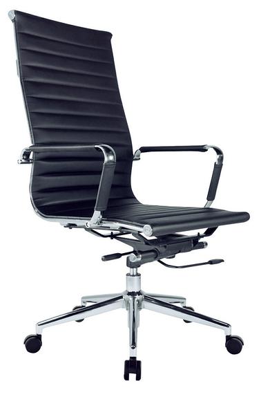 HY-632-2    A01大型黑皮辦公椅-懸背-電金腳