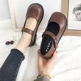 新款百搭ins復古單鞋女學生百搭chic小皮鞋皮帶扣娃娃鞋  極有家