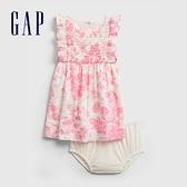 Gap嬰兒 花卉印花洋裝套裝 681736-白底印花