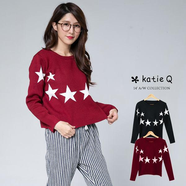 歐美星星印花針織上衣(2色)-F【KatieQ】