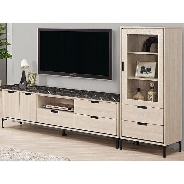 電視櫃 MK-809-1 昆提斯7.8尺原石L櫃【大眾家居舘】