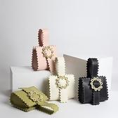 手提包-真皮時尚金屬花朵鋸齒邊女晚宴包4色73tn21[巴黎精品]