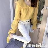 早秋季新款襯衫女設計感小衆寬鬆長袖娃娃領網紅法式雪紡上衣『快速出貨』