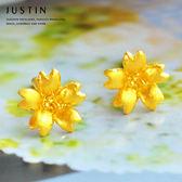 Justin金緻品 黃金耳環 櫻花飄舞 9999純金耳環 金飾 花型 花朵 送禮推薦