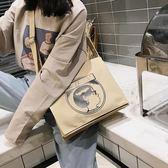 帆布包 上新慵懶風帆布包包女時尚復古斜挎單肩包女學生簡約 【童趣屋】