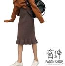 EASON SHOP(GU8987)韓版純色鬆緊腰收腰針織坑條紋下襬魚尾魚長裙女高腰顯瘦過膝裙修身顯腿長包臀裙