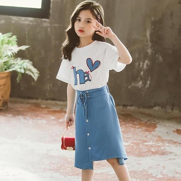 童裝2021夏季女童寬松半身裙短袖T恤兩件套中大童休閒女孩套裝潮 百分百