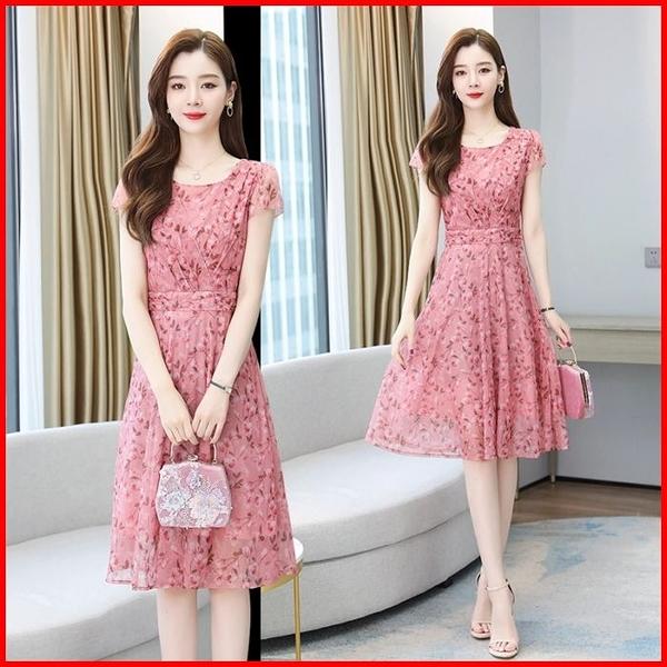 春夏短袖洋裝 雪紡連衣裙女2021年夏裝新款碎花遮肚顯瘦小個子裙子 9250 依多多