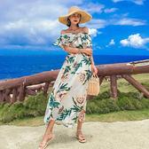 梨卡 - 甜美優雅度假一字領露肩印花花朵圖騰沙灘連身長裙洋裝連身裙長洋裝沙灘裙C6418-1