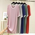 莫代爾睡裙女2021年新款夏短袖連身裙大碼寬鬆可外穿孕婦睡衣裙薄 8號店