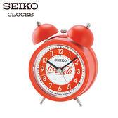 SEIKO 精工鬧鐘 可口可樂聯名響鈴鬧鐘 紅 貪睡賴床功能 滑動式靜音秒針 公司貨保固1年 QHK905R