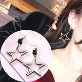韓國氣質大五角星吊墜流蘇耳環玫瑰金防過敏鈦鋼耳釘夸張顯瘦耳飾